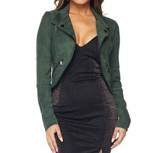 Hunter Green Faux Suede Motto Jacket